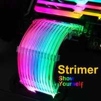 Lian Li Strimer-24/Strimer-8, 5V câbles d'extension rvb, éclairage arc-en-ciel, pour 24Pin à la carte mère/Dual-8Pin à la carte graphique