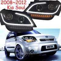 2 piezas de coches luz de la cabeza para el alma 2008, 2009, 2010, 2011, 2012 de los faros de alma LED DRL luces Bi- xenón niebla haz de luz Auto