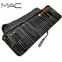 MAC 32 piezas maquillaje en polvo Fundación sombra de ojos maquillaje herramientas cosméticos suave pelo sintético con PU bolsas