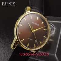 38mm Parnis dial brown amarillo marcadores fecha ventana de cristal de zafiro movimiento automático de los hombres