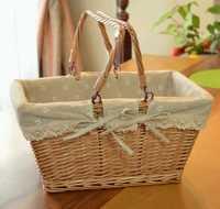 Vintage grande cesta de Picnic de mimbre canasta de almacenamiento de frutas con mango plegable aperitivos Willow cesta de Picnic obstaculizar