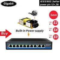 SZSSCEE Gigabit 10 Puerto interruptor de Poe, apoyo Ieee802.3af/en cámaras Ip y AP inalámbrico 10/100/1000 mbps estándar de red