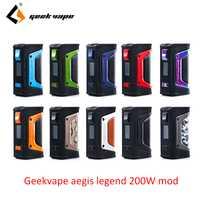 Vape mod GeekVape auspicios mod auspicios leyenda 200 W TC caja MOD alimentado por Dual 18650 e cigs No batería Para zeer rta blitzen