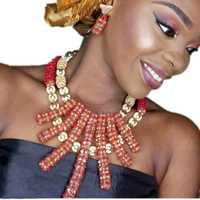 Bling joyería fina oro rojo Africana cuentas collares para las mujeres bolas nupcial joyería Set Indian conjunto la manera del envío
