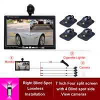 360 cámara de visión 4 manera cámaras sistema de estacionamiento para trasero izquierdo Lado derecho frontal cámara de visión nocturna con 7 pulgadas HD Monitor del coche