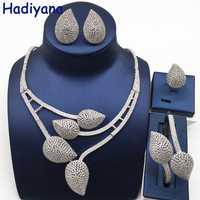 Nankiya nuevas hojas diseño nupcial conjunto de joyas blanco claro Zirconia cúbica de Nigeria accesorio de la joyería establece para las mujeres NC757