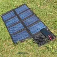 50 W 18 V/5 V plegable Cargador Solar célula Solar portátil para el ordenador portátil/teléfono celular DC18V + doble salida USB para 12 V batería