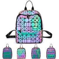 De las mujeres holográfica mochila luminosa geométrica lazo reflectante mujer Mochila De Cuero bolsas para la Escuela de las niñas adolescentes sac