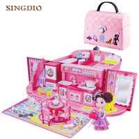 Diy muñecas casa bolso para muñeca accesorios linda casa miniaturas niños villa cocina luz música juguetes niña juguete traje para niños