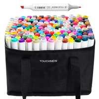 TOUCHNEW 168 de dibujo de Color marcador Set Punta doble gráfico dibujo pluma Alcohol artista doble cabeza arte marcador pluma + bolsa de lápiz
