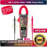 UNI-T pantalla OLED UT216D 6000 cuentas 600A AC/DC T-RMS pinza Digital para Ohm capacitancia medida con temperatura probador NCV