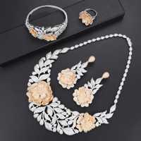 Missvikki nueva moda mujer joyería regalo de Navidad collar de flores pendientes anillos pulseras boda conjuntos de joyas