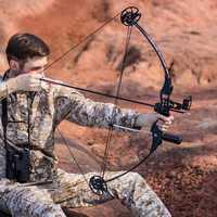 Caza arco compuesto 30-45 lbs poderoso tiro con arco negro de tiro al aire libre de pesca de tiro con arco caza arco
