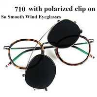 Gafas vintage a la moda para hombres y mujeres TB710 miopía gafas con clip polarizado gafas con caja