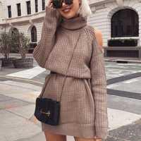 Hombro Vestidos de punto mujeres invierno 2018 moda Venta caliente calle Hipster suelta escuela Simple Casual Chic Vestido corto