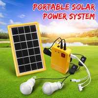 Sistema doméstico cargador USB de 5 V con 3 bombillas LED Kit generador de Panel de energía Solar iluminación interior/exterior sobre descarga proteger