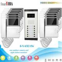 SmartYIBA Wired 4,3 pulgadas TFT Color Video portero puerta timbre del teléfono Intercom 12 monitores para apartamento Intercom