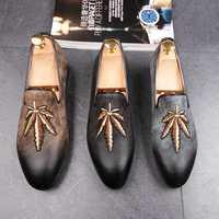 CuddlyIIPanda marque de luxe hommes robe chaussures feuille d'érable broderie hommes mocassins bal appartements boîte de nuit mocassins Zapatos Hombre