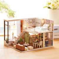 Casa de muñecas miniatura DIY casa de muñecas con muebles musical, de madera casa juguetes para niños de regalo de Navidad de cumpleaños de decoración del hogar