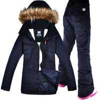 GSOU nieve traje de esquí Snowboard traje chaqueta + Pantalones impermeables a prueba de viento ropa para mujeres ropa de invierno
