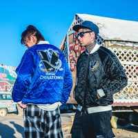 Elegante marca estilo chino bordado dragón Yokosuka algodón ropa hombres y mujeres casual béisbol uniforme chaqueta