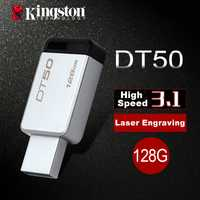 Kingston USB flash drive USB 3.0 128 GB pen drive metal memoria flash usb stick 128 GB memoria DIY artesanía personalizado pendrive u disco
