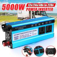 Onduleur solaire DC 12V 24V 48V à ca 220V 3000W 4000W 5000W convertisseur de transformateur de tension inverseur 4 affichage de LED USB pour la maison de voiture