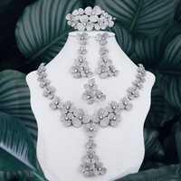 ModemAngel exquisito flores AAA Cubic Zirconia joyería de las mujeres de la boda de fiesta de novia brazalete de collar, pendiente, anillo,