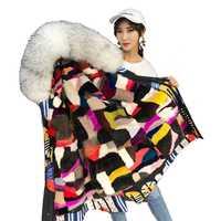 Abrigo de piel de visón Real colorido largo medio estampado abstracto para mujeres de invierno abrigos de talla grande de piel de mapache con capucha Parkas