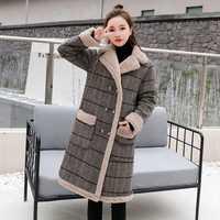Grueso cálido gruesa Casual de algodón de las mujeres de invierno de lana abrigo 2019 de moda de mujer caliente lana mezclas abrigos 2XL