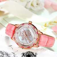 Relojes de mujer de moda de Solly reloj de cristal de zafiro resistente al agua de marca superior de cuarzo de lujo correa de cuero para mujer reloj rosa