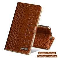 Caja del teléfono para Xiao mi Pocophone F1 mi 8 A1 A2 Lite mi x 2 s Max 3 Original de cuero de vaca crocodlie textura rojo mi nota 5 funda
