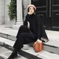 Pantalón deportivo elegante de estilo de moda suéter femenino atractivo temperamento dama 2 piezas de las mujeres conjunto top y pantalones trajes de sudor