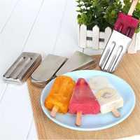 DIY 10 Uds Acero inoxidable molde paleta de hielo molde de helado diseño grueso conducción rápida del calor mango suave fácil de usar