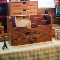 Escritorio Vintage estante de madera adornos de contenedor de almacenamiento caja cosmética de cofres del Tesoro de almacenamiento de titular regalos de artesanía