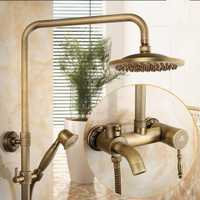 Juego de ducha de lluvia de baño de pared antigua cascada grifo de ducha con 8 pulgadas ducha de lluvia mezclador de ducha sólido