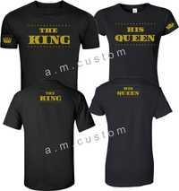 2018 Venta caliente 100% algodón rey y reina oro diseño grande en el frente a juego lindo Camisetas s-5xl camiseta
