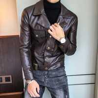 Moda de hombre chaquetas de cuero de corte Slim verde de la motocicleta chaquetas de cuero marrón Deri Ceket Erkekler Veste Moto de cuero de la Pu chaquetas hombre