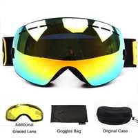 Benice gafas de esquí doble capas UV400 anti-niebla esférica de espejo gafas de esquí de las mujeres de los hombres de nieve gafas de 3100 + lente caso