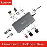 Original 11 en USB C 1 a 4 K HDMI RJ45 VGA Ethernet para Lenovo para MacBook Pro USB portátil dispositivo tipo C LX0801