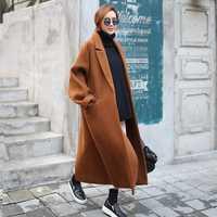 Otoño Invierno suelta larga capullo caramelo abrigo coreana Retro capa doble cara corto abrigo de invierno 2019 nuevo abrigo abrigos y chaquetas las mujeres