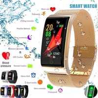 F4 banda inteligente pulsera de la presión arterial Monitor de ritmo cardíaco rastreador GPS de las mujeres de los hombres podómetro pulsera inteligente para Android