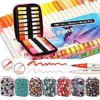 100 colores diferentemente Dual cepillo pluma pincel de agua marcadores de Color cepillo pluma pincel de Finecolour cepillo marcadores de dibujo pintura arte suministros