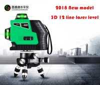 2019 nuevo modelo rojo líneas o las líneas verdes 3D 12 líneas de nivel láser auto-nivelación 360 Horizontal vertical súper poderoso