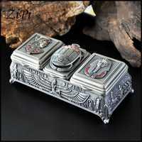 Caja de almacenamiento de joyería de metal de los antiguos dioses egipcios caja de joyería de estilo europeo retro caja de joyería de princesa de regalo