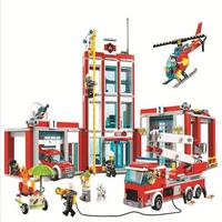 Legoings 60110 958 pièces Ville Série La Caserne des pompiers Modèle Building Block jouet de construction Pour Enfants cadeau d'anniversaire 10831