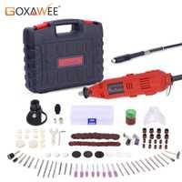 GOXAWEE taladro eléctrico Mini Grinder grabador Rotary herramienta Dremel accesorios con eje flexible Unverisal Chuck llevar caja