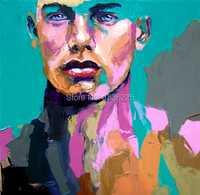 Arte de la pared pintada a mano hombre cara decoración del hogar figura pop abstracta pintura al óleo sobre lienzo cuchillo pintura al óleo del carácter