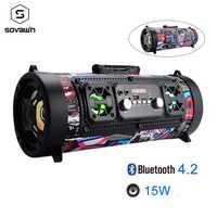 15 W portátil al aire libre Bluetooth 4,2 altavoz de Radio FM de coche USB Subwoofer HD envolvente estéreo inalámbrico altavoz TF AUX micrófono MP3
