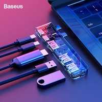 Baseus HUB USB Dual USB C a HDMI USB 3,0 tipo C hembra adaptador Thunderbolt 3 tipo C hub USB 3,0 para Macbook Pro 2016 de 2017